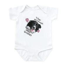 border collie kisses Infant Bodysuit