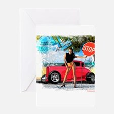 Hot Rod Girl Greeting Card