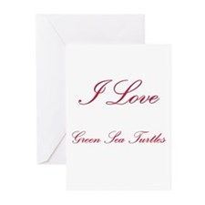 I Love Green Sea Turtles Greeting Cards (Pk of 10)