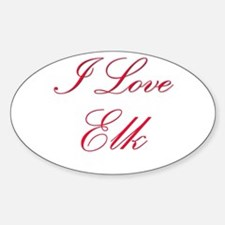 I Love Elk Oval Decal