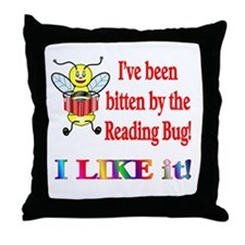 Reading Bug Throw Pillow
