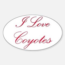 I Love Coyotes Oval Decal