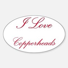 I Love Copperheads Oval Decal