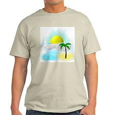 Tropical Graphic Ash Grey T-Shirt