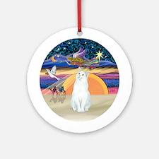 XmasAngel-White cat (SH) Ornament (Round)