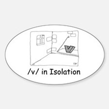 V in isolation Oval Decal
