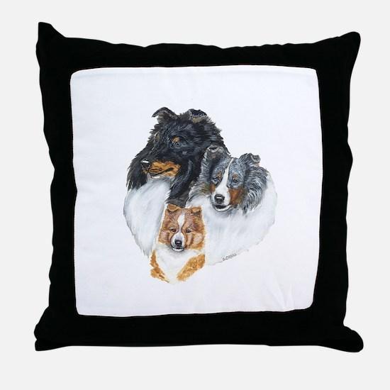 Shetland Sheepdog Three Color Throw Pillow