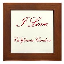I Love California Condors Framed Tile