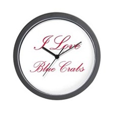 I Love Blue Crabs Wall Clock
