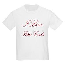 I Love Blue Crabs Kids Light T-Shirt