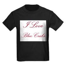 I Love Blue Crabs Kids Dark T-Shirt