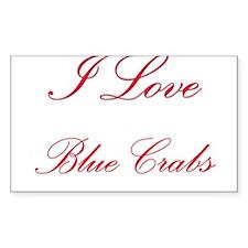 I Love Blue Crabs Rectangle Sticker