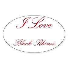 I Love Black Rhinos Oval Sticker