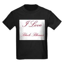 I Love Black Rhinos Kids Dark T-Shirt