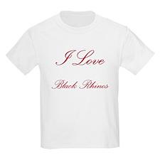 I Love Black Rhinos Kids Light T-Shirt