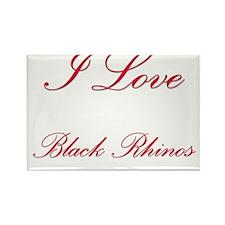 I Love Black Rhinos Rectangle Magnet
