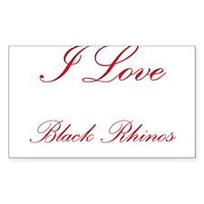 I Love Black Rhinos Rectangle Sticker