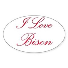 I Love Bison Oval Decal