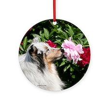 Sheltie Flower Ornament (Round)