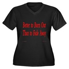 Burn Out Women's Plus Size V-Neck Dark T-Shirt