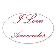 I Love Anacondas Oval Decal