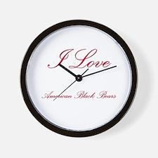 I Love American Black Bears Wall Clock