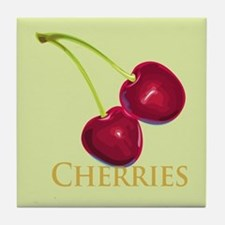 Cherries with Stems Tile Coaster