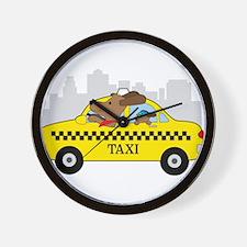 New York Taxi Dog Wall Clock