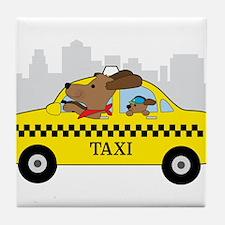 New York Taxi Dog Tile Coaster