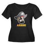 Arr Pirate Women's Plus Size Scoop Neck Dark T-Shi