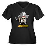 Arr Pirate Women's Plus Size V-Neck Dark T-Shirt