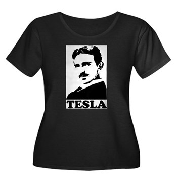 Tesla Women's Plus Size Scoop Neck Dark T-Shirt | Gifts For A Geek | Geek T-Shirts