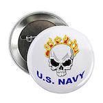 U.S. Navy Skull on Fire Button