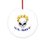 U.S. Navy Skull on Fire Keepsake (Round)
