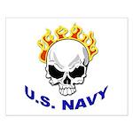 U.S. Navy Skull on Fire Small Poster