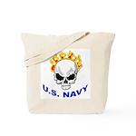 U.S. Navy Skull on Fire Tote Bag