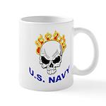 U.S. Navy Skull on Fire Mug