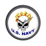 U.S. Navy Skull on Fire Wall Clock