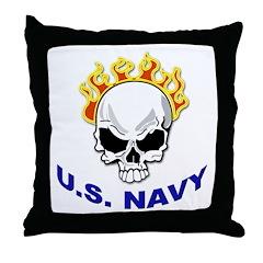 U.S. Navy Skull on Fire Throw Pillow