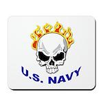 U.S. Navy Skull on Fire Mousepad