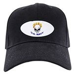 U.S. Navy Skull on Fire Black Cap