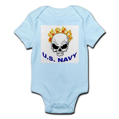 U.S. Navy Skull on Fire Infant Creeper