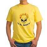 U.S. Navy Skull on Fire Yellow T-Shirt