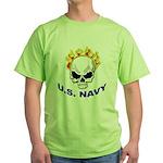U.S. Navy Skull on Fire Green T-Shirt