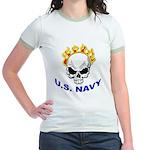 U.S. Navy Skull on Fire Jr. Ringer T-Shirt