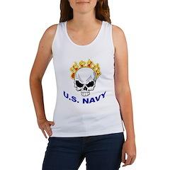 U.S. Navy Skull on Fire Women's Tank Top
