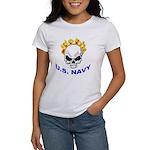 U.S. Navy Skull on Fire Women's T-Shirt