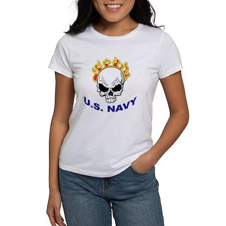 U.S. Navy Skull on Fire (Front) Women's T-Shirt