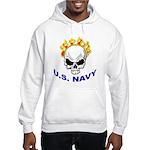 U.S. Navy Skull on Fire (Front) Hooded Sweatshirt