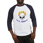 U.S. Navy Skull on Fire Baseball Jersey
